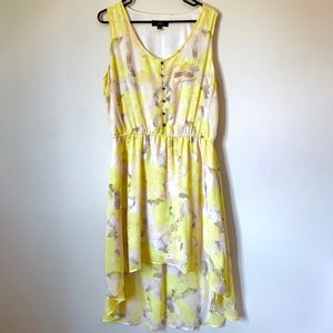 Yellow floral dress flowing